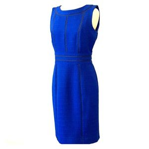 Ellen Tracy Blue Boucle Shift Dress